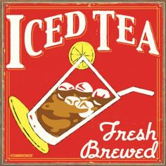 antique tin iced tea sign