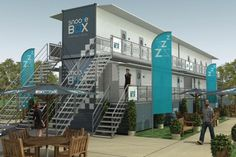 Snoozeboxes: Mobile Container Hotels Travel by Truck or Rail ~ Modular, stackable, these cargo containers provide surprisingly refined accommodations inside, can be shipped cheaply and easily around the world to meet different demand. Snoozebox models can be shipped by road, rail, air or sea, fully deployed within two days and configured in a variety of ways for festivals, remote events, emergency housing or perhaps even temporary cities.