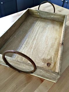 Thrifty Decor Chick: My simple kitchen command station Wood Tray, Wood Boxes, Kitchen Command Station, Home Organisation, Organization, Be Organized, Declutter Home, Thrifty Decor Chick, Repurposed Items