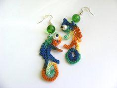 Crochet  Chameleons Earrings Original design by AmayArt on Etsy, $15.00
