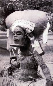 Dancer in 'Chihongo' (male) mask from Chokwe people. Congo, Angola or Zambia. Arte Tribal, Tribal Art, African Culture, African History, African American Art, African Art, Tanzania, Roland Paris, Congo