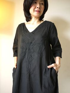 Boho Tunic Dress - 3/4 Sleeve Deep V-Neck Light Linen Mix Cotton Casual Floral Hand-Embroidered Tunic Dress Hand-Dyed In Black. $52.00, via Etsy.