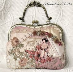 I ❤ crazy quilting, beading & ribbon embroidery . Crazy quilted evening purse ~By Humming Needles by Jotka Jurzak Vintage Purses, Vintage Bags, Vintage Handbags, Crazy Quilting, Crazy Patchwork, Quilting Ideas, Beaded Purses, Beaded Bags, Bag Quilt