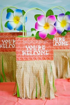"""Moana Birthday Party Ideas Gift Bags - """"You're welcome"""" Hawaiian Birthday, Luau Birthday, 6th Birthday Parties, Birthday Ideas, Birthday Photos, Birthday Gifts, Moana Birthday Party Theme, Moana Themed Party, Moana Party Bags"""