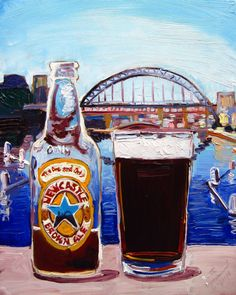 Beer Oil Painting of Newcastle Brown Ale by por RealArtIsBetter