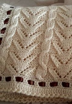 Very pretty knit blanket - Free Tutorials (Beautiful Skills - Crochet Knitting Quilting) - Strickmuster - Knitting Stiches, Knitting Charts, Lace Knitting, Knitting Machine, Knitting Designs, Knitting Projects, Crochet Projects, Knitted Afghans, Knitted Blankets