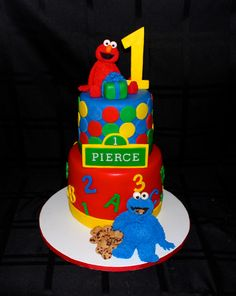 Sesame Street Elmo and Cookie Monster Cake http://www.facebook.com/I.Love.Cuteology.Cakes