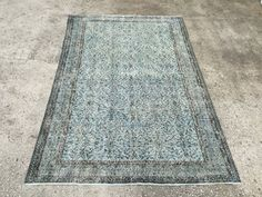 Vintage Rug Blue Rug Carpet Rug 8'5x5'4ft Anatolian by EclecticRug