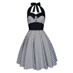 Gingham Dress Black White Checkered Dress  por LadyMayraClothing