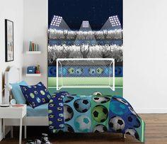 Fotobehang - Voetbal - 232 x 158 cm - Multi