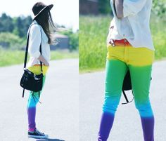 Rainbow pants (by Kasia Gorol) http://lookbook.nu/look/3493025-rainbow-pants