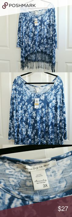 🆕Listing:  American Rag Blouse 3X American Rag loose blouse.  Size 3x.  About 25 inches armpit to armpit.  About 28 inches shoulder to hem.  Longer in back, and longer including the fringe. 100% Rayon.  Soft and stretchy.  Blue floral pattern.  NWT. American Rag Tops Blouses