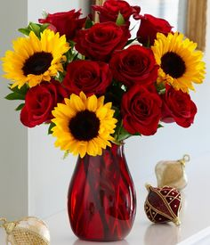 rose and sunflower bouquet | ... full of love this joyous bouquet is sure to delight this holiday 9 red