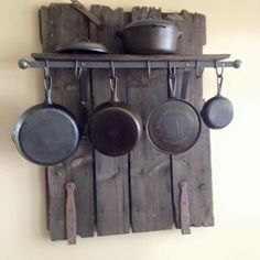 Made from an old barn door. Love this idea! Rustic Kitchen, Country Kitchen, Diy Kitchen, Kitchen Decor, Iron Storage, Iron Holder, Barn Wood Projects, Cast Iron Cooking, Cast Iron Cookware
