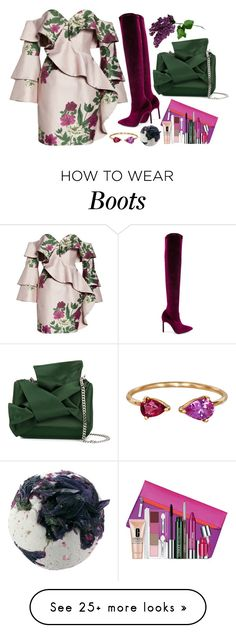 """""""Floral + Ruffles"""" by cherieaustin on Polyvore featuring Keepsake the Label, Manolo Blahnik, N°21, Clinique and Yi Collection"""