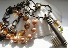 Victorian Style Key Glass Beads Glass Pearls by OceanaireDreamer, $33.00