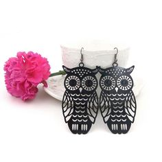 Womens Fashion Accessory Black Vintage Big Owl Design Pendant Dangle  Earrings #Fashion #Earrings
