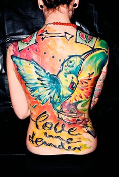 Colorful full back tattoo by Voller Kontrast