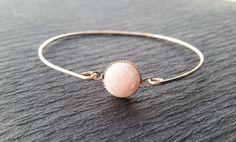 Natural Pink Rose Quartz Gemstone Bangle Bracelet on 925 Sterling Silver Band | June Birthstone Bangle | Genuine Gemstone | Birthday Jewelry