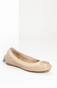 These shoes don't last long, but I am obsessed nonetheless. Tory Burch 'Caroline' Elastic Trim Ballerina Flat available at #Nordstrom