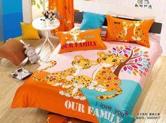 Cartoon Animals Leopard Print Bedding Set