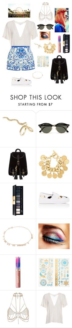 """Festival"" by tamara-wolfram ❤ liked on Polyvore featuring Jacquie Aiche, Ray-Ban, Yves Saint Laurent, Chanel, Prada, Kismet by Milka, tarte, claire's, River Island and IRO"