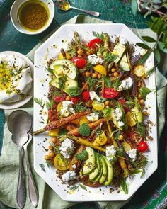 Honey-roast carrot and chickpea salad with labneh recipe Raw Food Recipes, Vegetable Recipes, Honey Roasted Carrots, Salad Sauce, Delicious Magazine, Chickpea Salad, Summer Salads, Healthy Eating, Yummy Food
