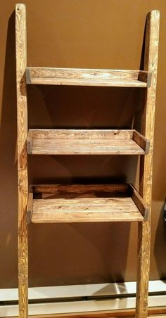 Leaning ladder shelf in special walnut stain Bathroom Ladder, Rustic Bathroom Shelves, Rustic Bathroom Designs, Contemporary Bathroom Designs, Kid Bathroom Decor, Bathroom Trends, Bathroom Design Small, Bathroom Ideas, Bathroom Interior