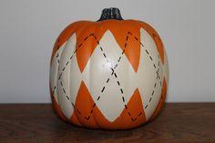 Pumpkin Preppy Argyle  Halloween Thanksgiving by MagnoliaMommyMade, $19.00