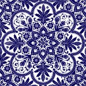 Bourgogne Tile ~ Admiral White & Blue by peacoquettedesigns, Spoonflower digitally printed fabric, wallpaper, and gift wrap Fractal, Blue Tiles, Ceiling Rose, Pretty Patterns, Delft, Blue Fabric, Blue And White Fabric, Mandala Art, Islamic Art