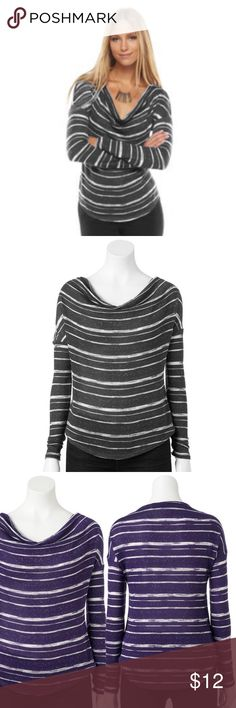 """Apt. 9 Striped Lurex Drapeneck Sweater XL Grey NWT BRAND NEW WITH TAG:    Get an updated look with this women's Apt. 9 sweater. Striped pattern and Lurex stitching combines to give you eye-catching style.  MSRP. $40    PRODUCT FEATURES    Drop-shoulder design    Drapeneck    Long sleeves    FABRIC & CARE    Polyester/rayon/metallic    Machine wash    bust: 46"""", waist: 46"""", length: 25"""" Apt. 9 Sweaters Cowl & Turtlenecks"""