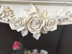 Our Chic Mouldings have been used to create a gorgeous shabby chic detailing on this bookcase. Www.chicmouldings.com hundreds of decorative furniture mouldings & appliqués available. Worldwide delivery too! #Shabbychicfurniture