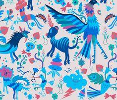birds_and_bees_grey_otomi_RK fabric by ronald_kurniawan on Spoonflower - custom fabric