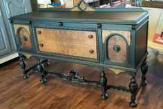 1930's Jacobean Buffet finished in Licorice and Natural Burl wood. #ShabbyPaints #PiecesoftimeFF #Licorice