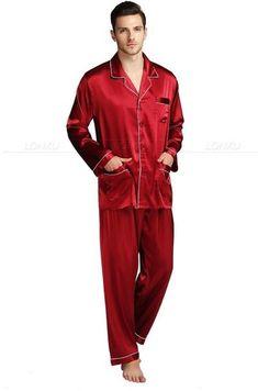 2858ecedc7 Mens Silk Satin Pajamas Pyjamas Set Sleepwear Set Loungewear U.S.  S