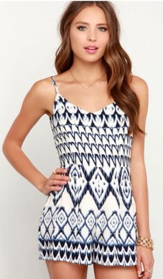 Yucatan Ivory and Navy Blue Print Romper $42 lulus.com