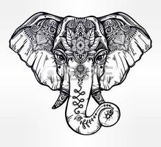 lotus flower tattoo designs: Decorative elephant with ethnic lotus ornament. Illustration