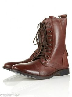 52075a5e98b TOPMAN Mens Lieutenat Brown Leather Military Boots Brown Leather