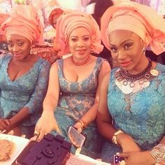 Ini Edo, Monalisa Chinda and Ebube Nwagbo at Paul Okoye's traditional wedding. African Dresses For Women, African Wear, African Women, Ghanaian Fashion, African Fashion, Beautiful Bride, Beautiful People, Wedding Attire, Wedding Outfits