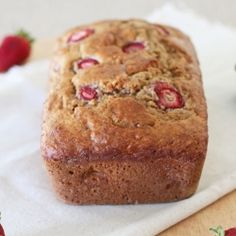 A healthy 100% whole wheat banana bread with the addition of fresh strawberries. This low fat bread is sweetened only with honey.
