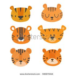 Set of cute tigers. Funny doodle animals. Little tiger in cartoon style. Vector illustration