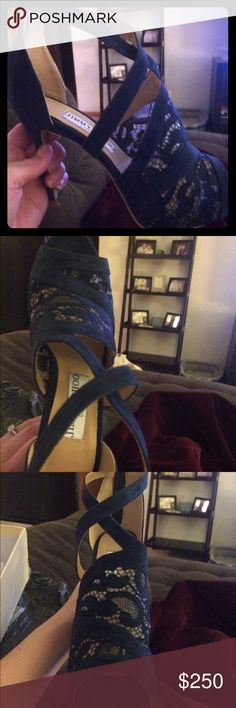 Jimmy Choo Sandals Brand new,  Jimmy Choo navy lace vantage sandals! Only worn to try on. Size 7.5 heel height is 3.9 inches.Very comfortable! Jimmy Choo Shoes Sandals