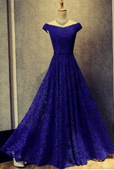 Beautiful Blue Prom Dresses, Elegant A-Line Floor Length