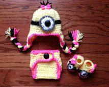 SALE! Crochet baby newborn through 12 mos  Minion hat for girl or boy photography prop