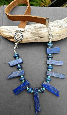 Blue Lapis Lazuli stone, turquoise stone with silver metal and leather necklace. Statement necklace.