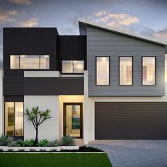 From design to reality! The building journey is all about bringing your vision to life. Swipe right to see how this modern mixed materials design featuring Stria and Axon cladding became a standout home!Build by Exterior Wall Cladding, House Cladding, House Paint Exterior, Dream House Exterior, Exterior House Colors, Facade House, Exterior Design, Bungalow House Design, Modern House Design