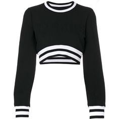 Versus cropped sweater (£200) ❤ liked on Polyvore featuring tops, sweaters, shirts, crop top, black, shirt top, shirt crop top, cropped shirts, cut-out crop tops and crop tops