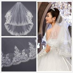 2 T Wedding Bridal Veil Dress Applique Lace Edge Elbow With Comb White Ivory US   Clothing, Shoes & Accessories, Wedding & Formal Occasion, Bridal Accessories   eBay!