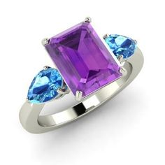 Emerald-Cut Amethyst  and Blue Topaz Sidestone Ring in 14k White Gold