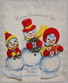 #833 50s SILVER ADORNED, 3-D Snowman Family, Vintage Christmas Card-Greeting